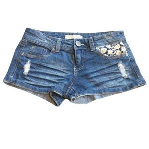 3/$15 No Boundaries Jean Shorts with Lace Pockets